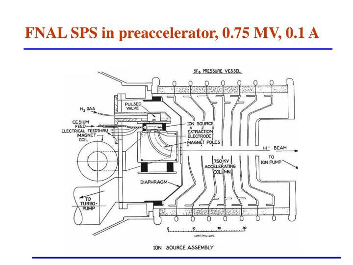 FNAL SPS in preaccelerator, 0.75 MV, 0.1 A