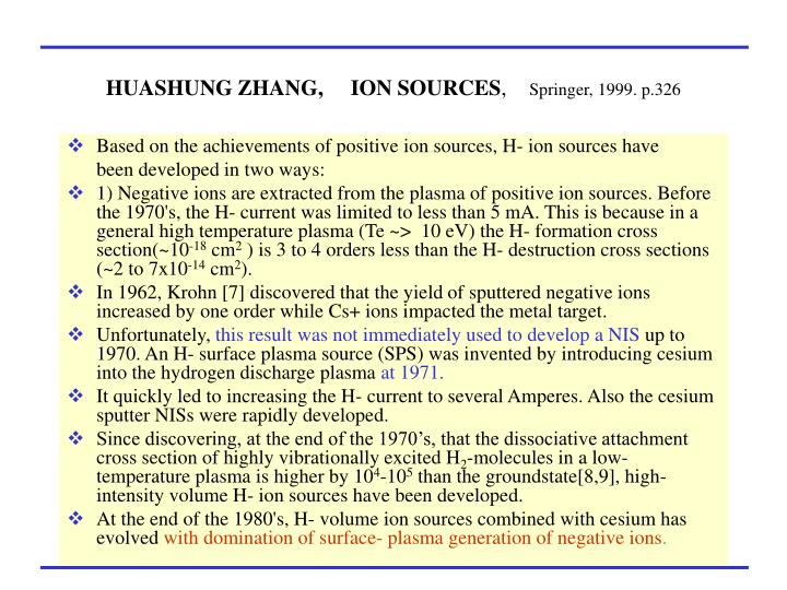 HUASHUNG ZHANG,     ION SOURCES