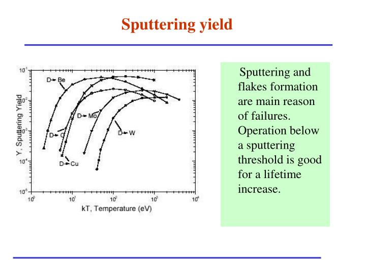 Sputtering and flakes formation are main reason of failures. Operation below a sputtering threshold is good for a lifetime increase.