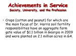 achievements in service society university and the profession
