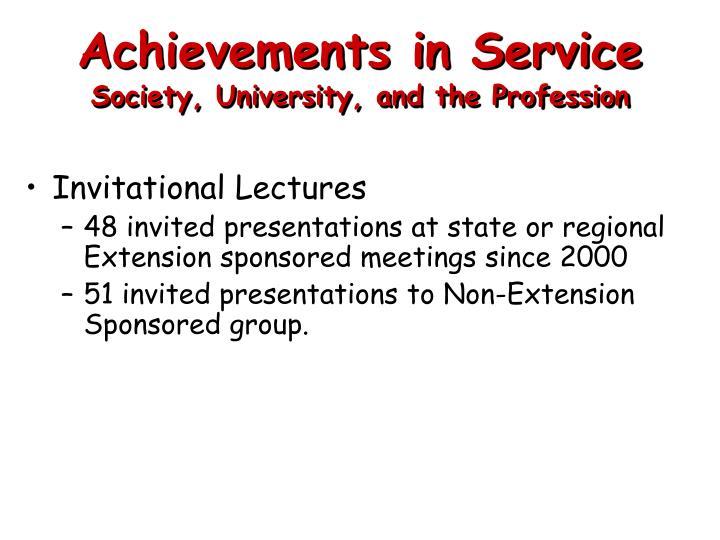Achievements in Service