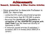 achievements research scholarship other creative activities