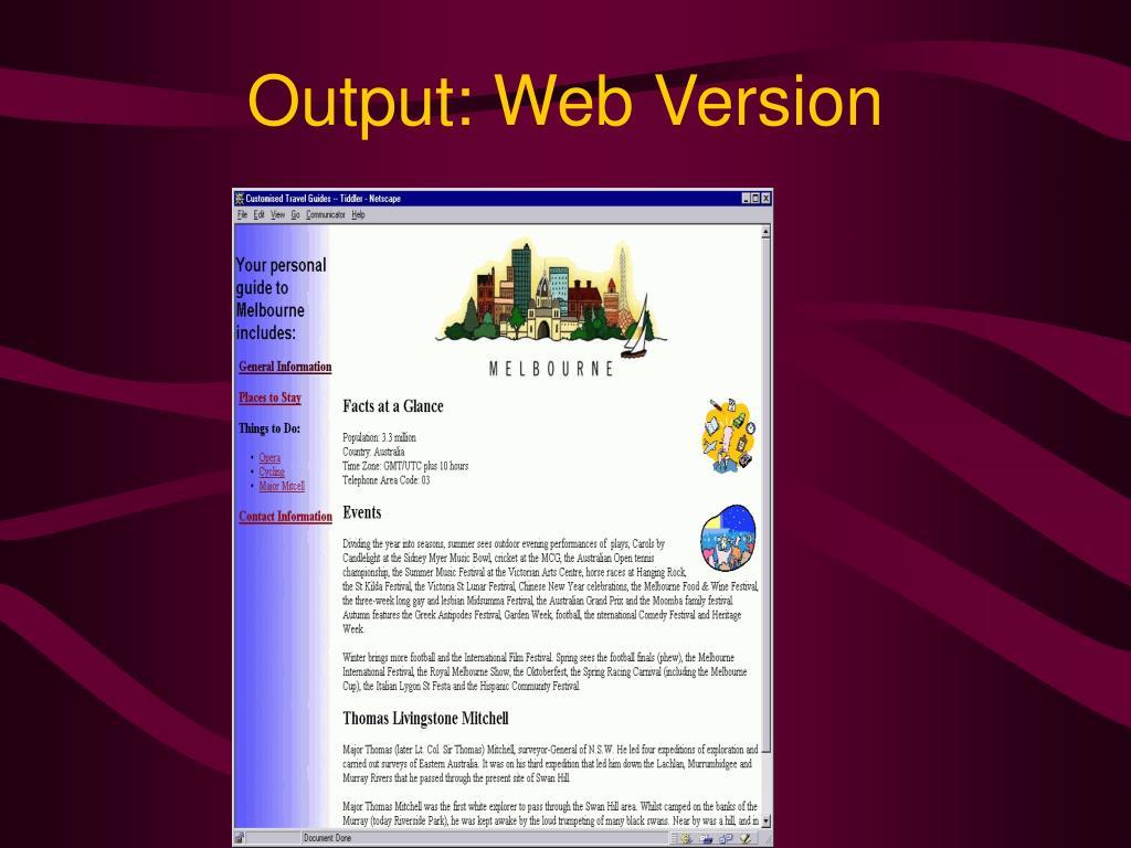 Output: Web Version