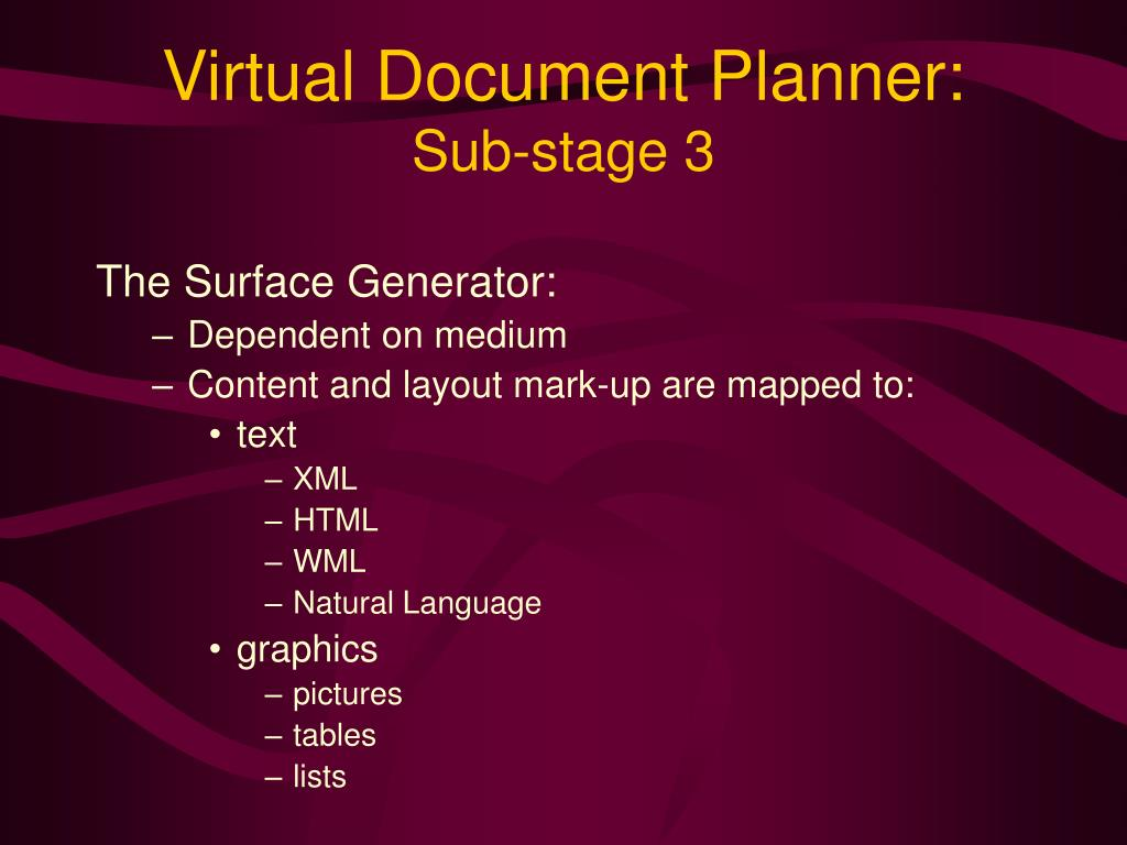 Virtual Document Planner: