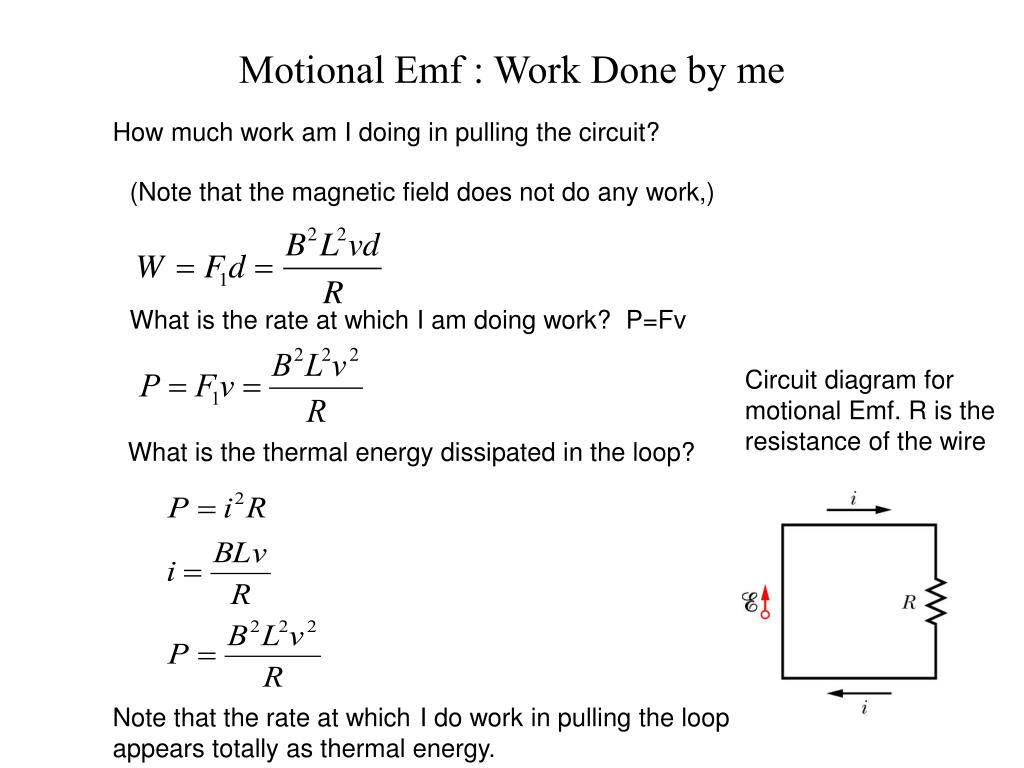 Motional Emf : Work Done by me