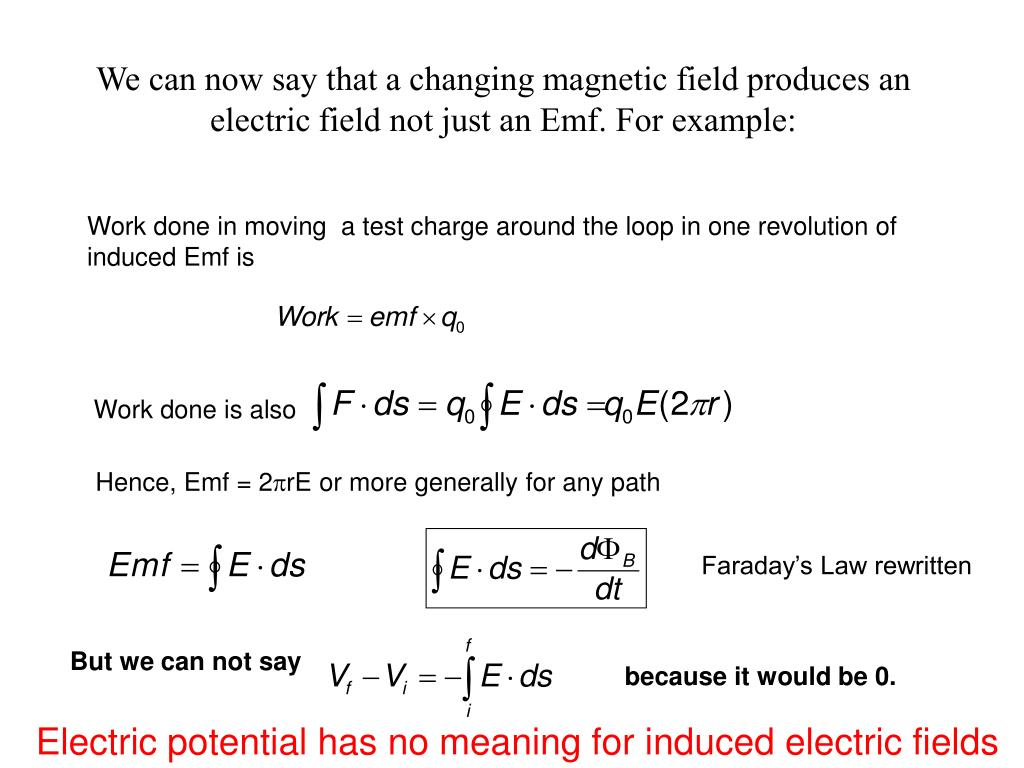 We can now say that a changing magnetic field produces an electric field not just an Emf. For example: