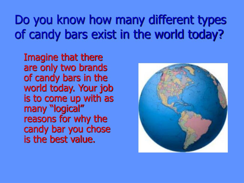 Do you know how many different types of candy bars exist in the world today?