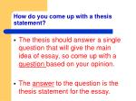 how do you come up with a thesis statement