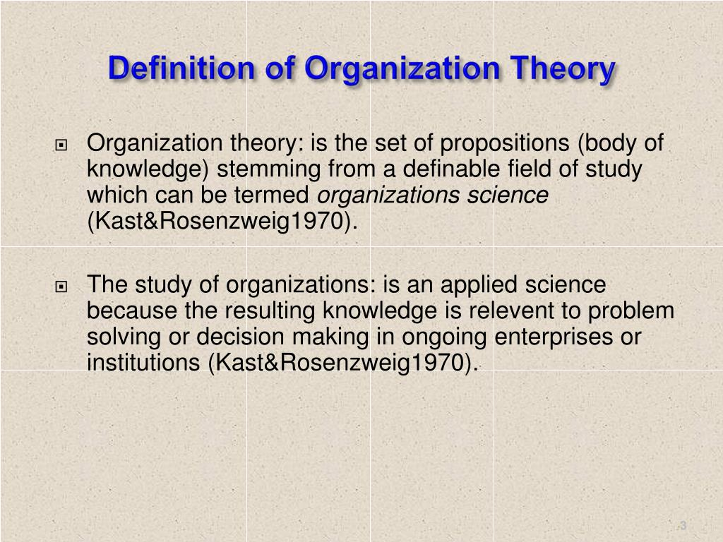 Definition of Organization Theory