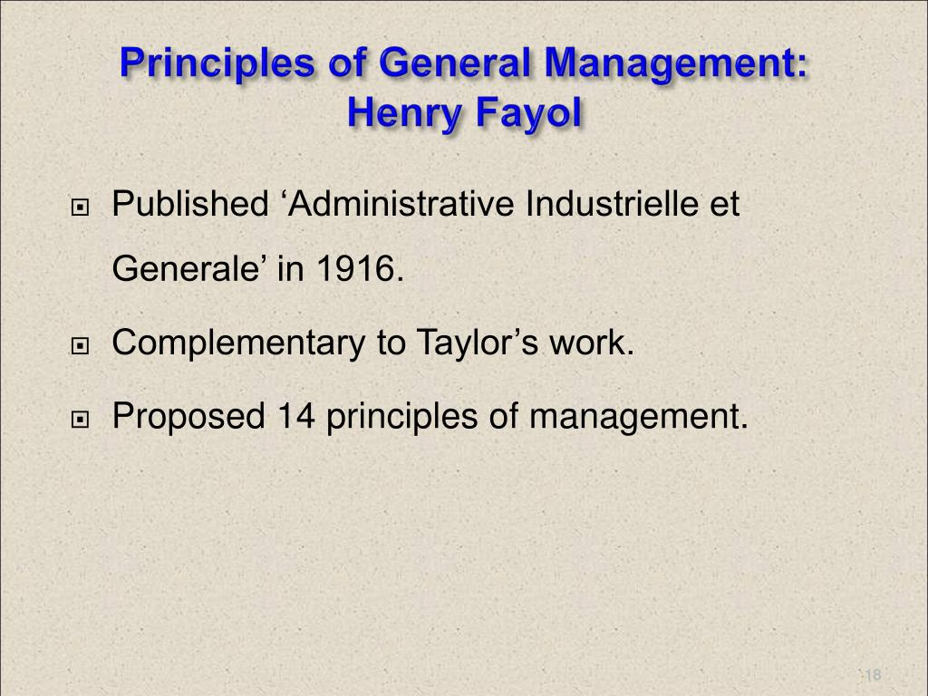 Principles of General Management: Henry