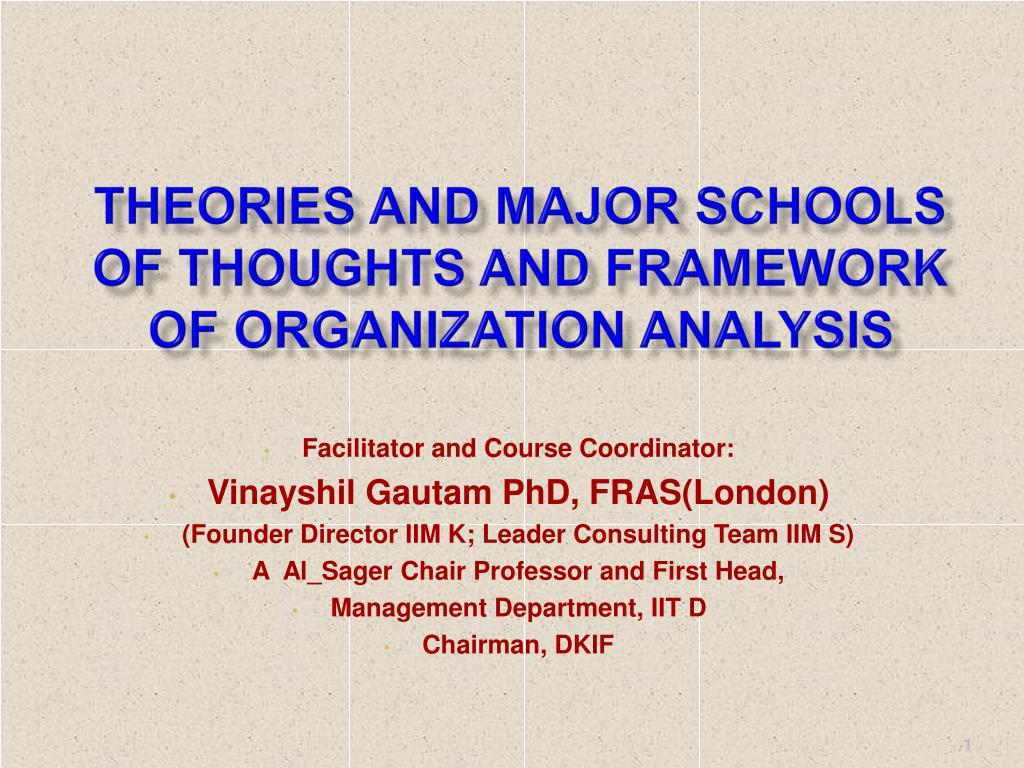 Theories and Major Schools of Thoughts and Framework of Organization Analysis