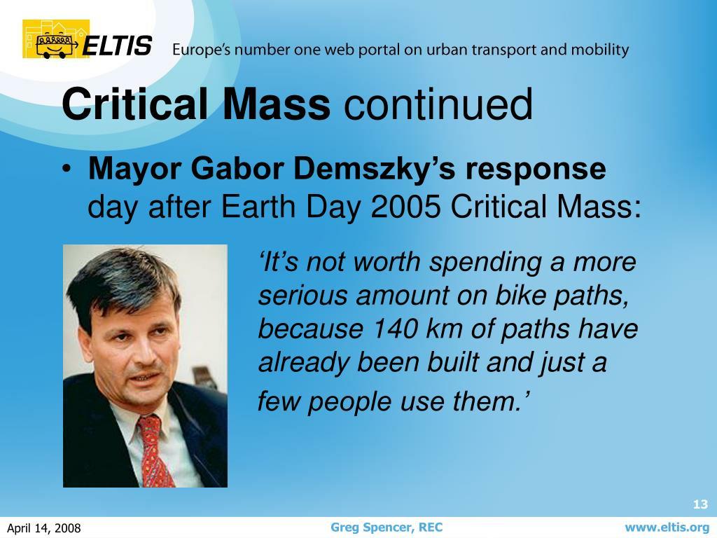 Mayor Gabor Demszky's response