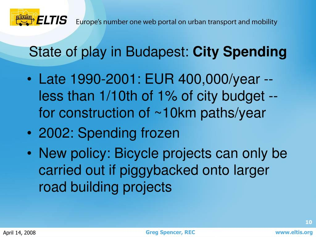 Late 1990-2001: EUR 400,000/year -- less than 1/10th of 1% of city budget -- for construction of ~10km paths/year