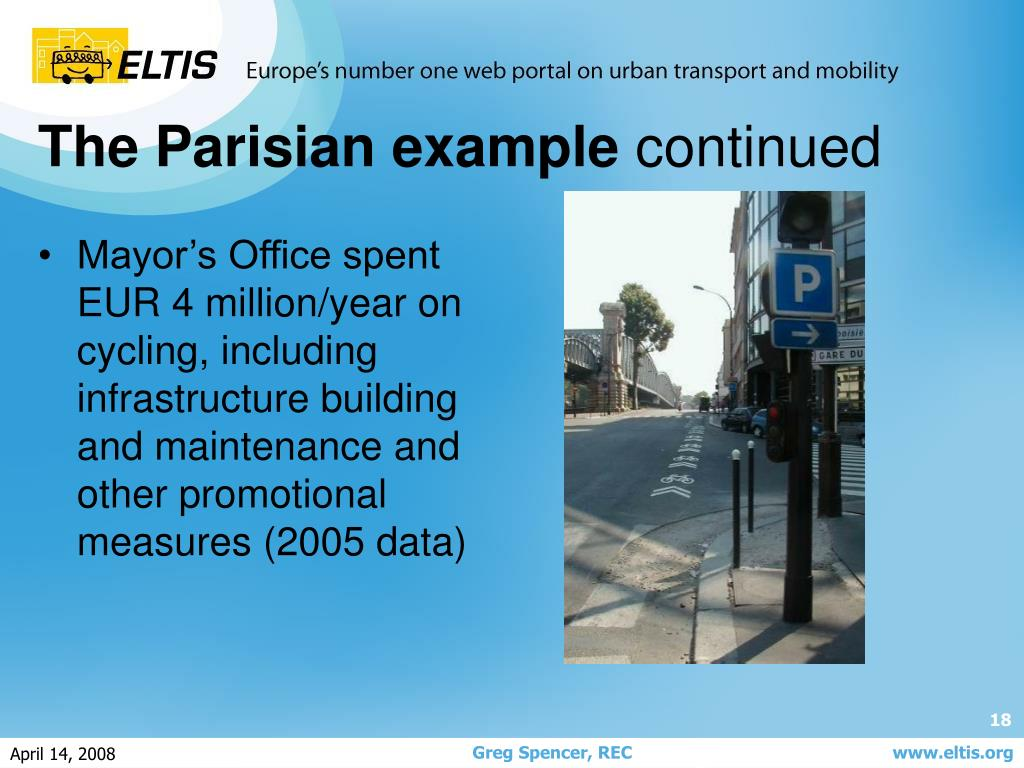 Mayor's Office spent EUR 4 million/year on cycling, including infrastructure building and maintenance and other promotional measures (2005 data)