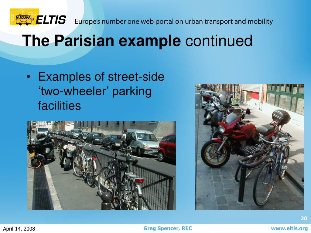 Examples of street-side 'two-wheeler' parking facilities