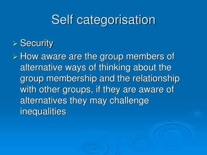 Self categorisation