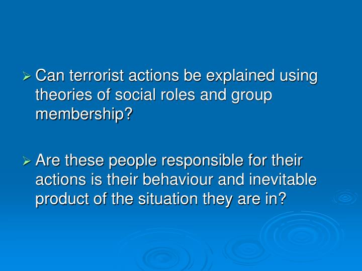 Can terrorist actions be explained using theories of social roles and group membership?