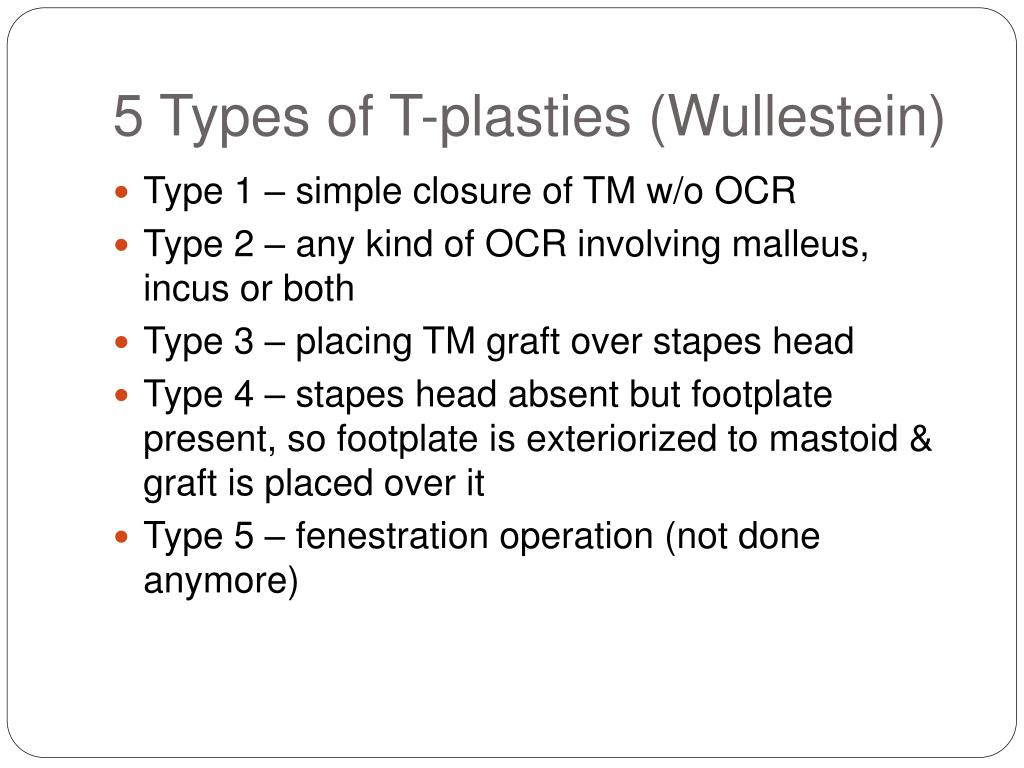 5 Types of T-plasties (Wullestein)