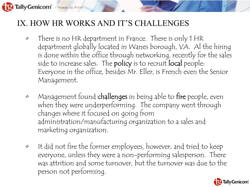 IX. HOW HR WORKS AND IT'S CHALLENGES