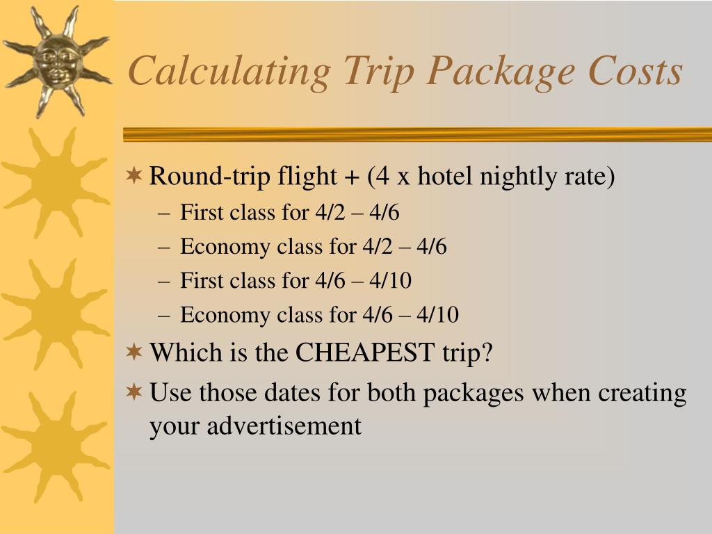 Calculating Trip Package Costs