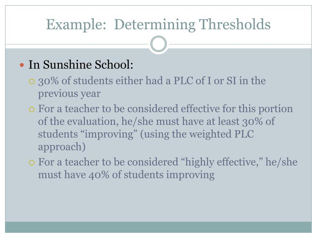 Example:  Determining Thresholds