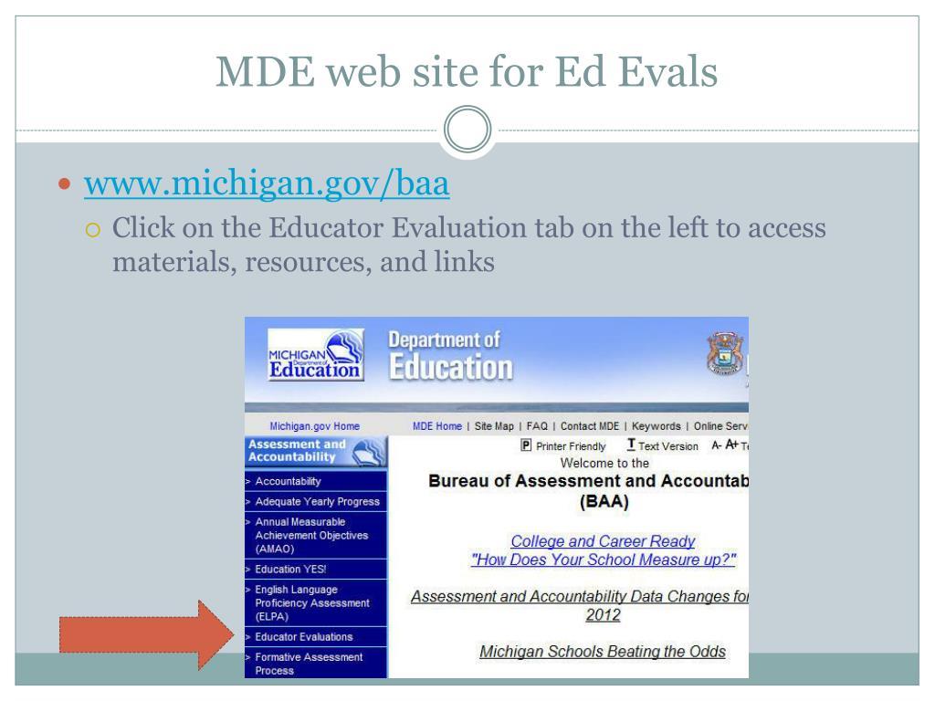 MDE web site for Ed Evals