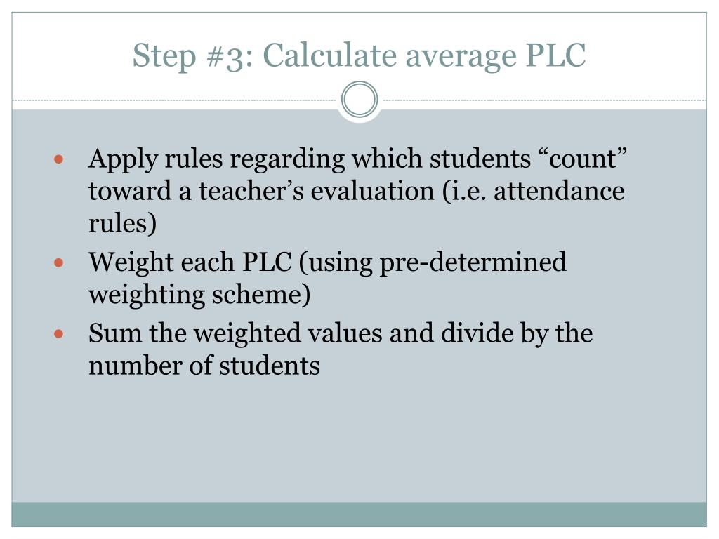 Step #3: Calculate average PLC