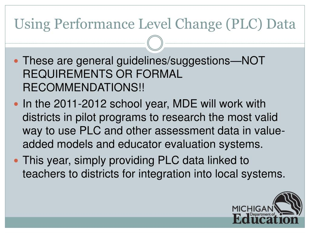Using Performance Level Change (PLC) Data