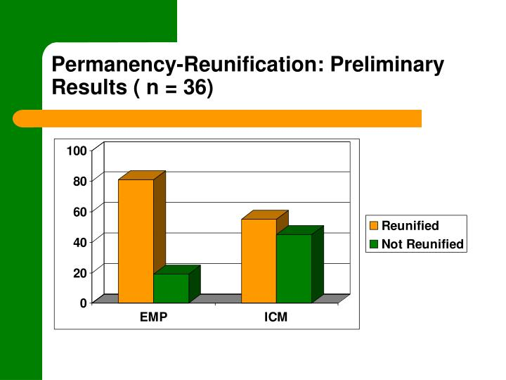 Permanency-Reunification: Preliminary Results ( n = 36)