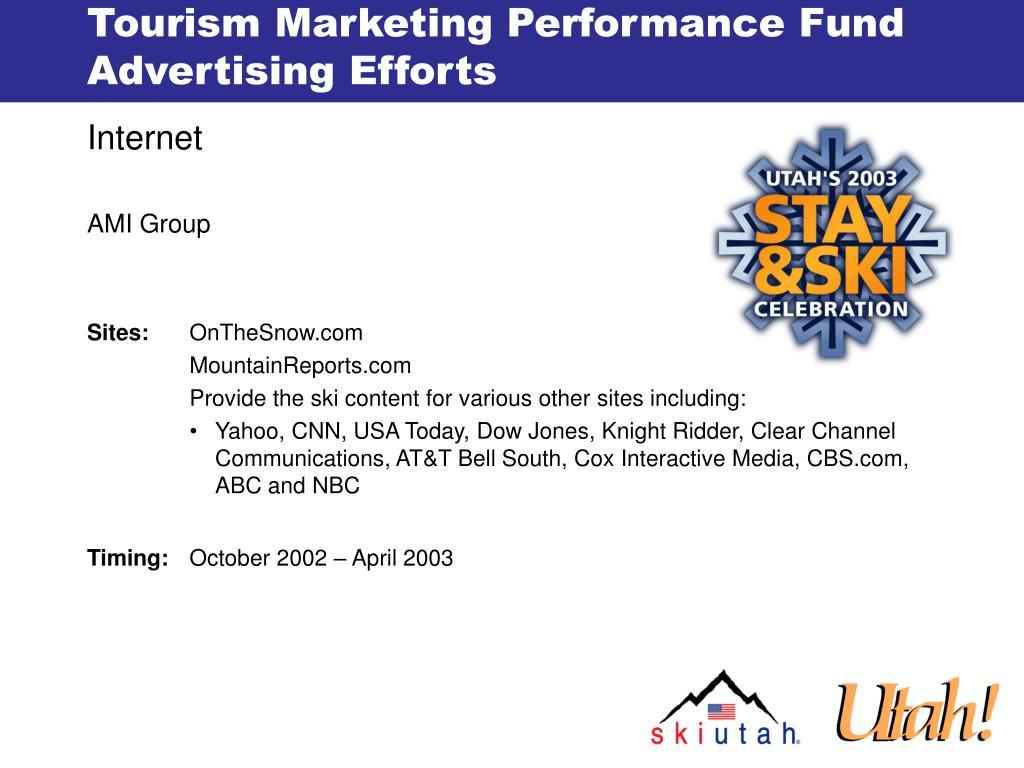 Tourism Marketing Performance Fund Advertising Efforts