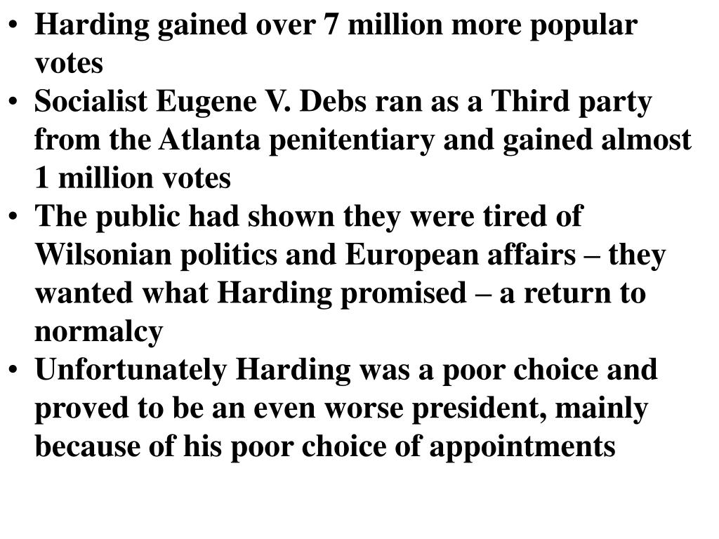 Harding gained over 7 million more popular votes