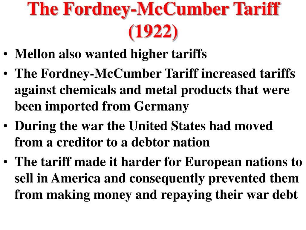 The Fordney-McCumber Tariff (1922)