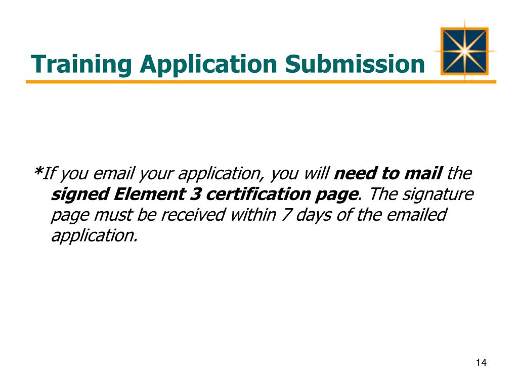 Training Application Submission