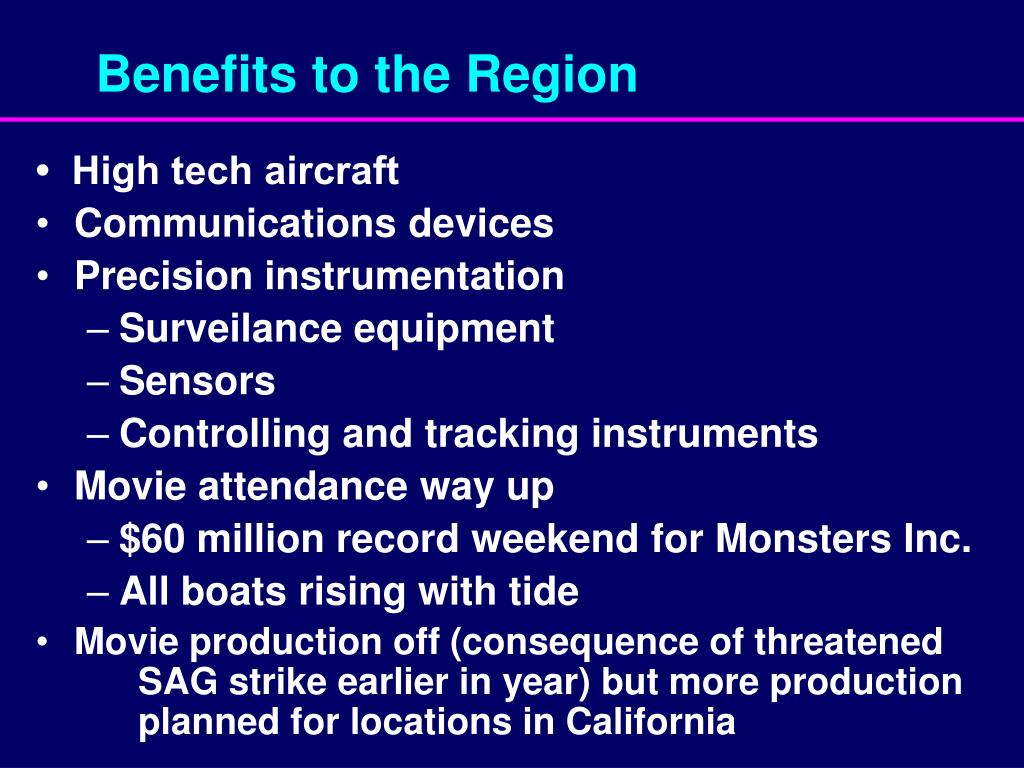 Benefits to the Region