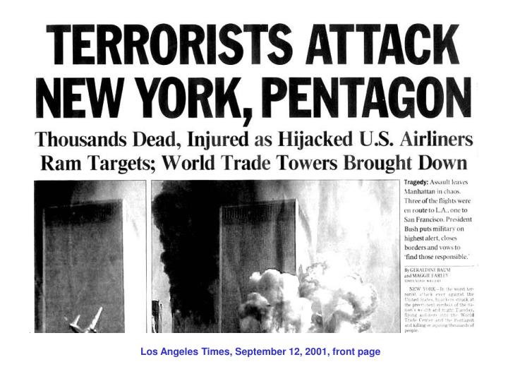 Los Angeles Times, September 12, 2001, front page