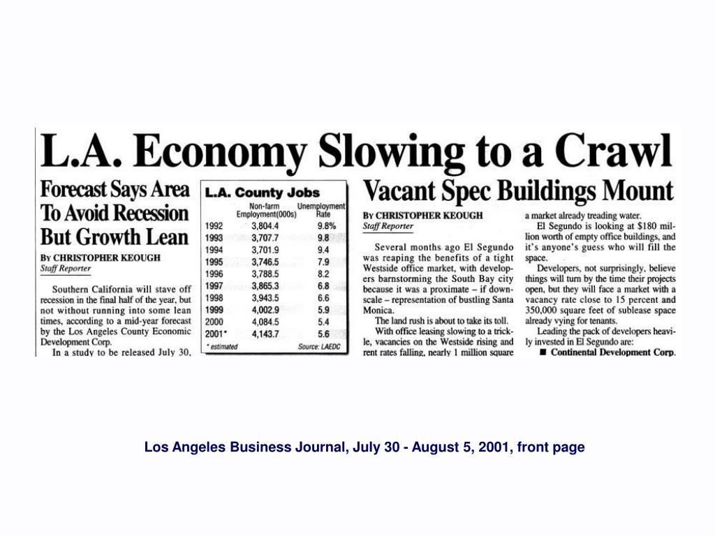 Los Angeles Business Journal, July 30 - August 5, 2001, front page