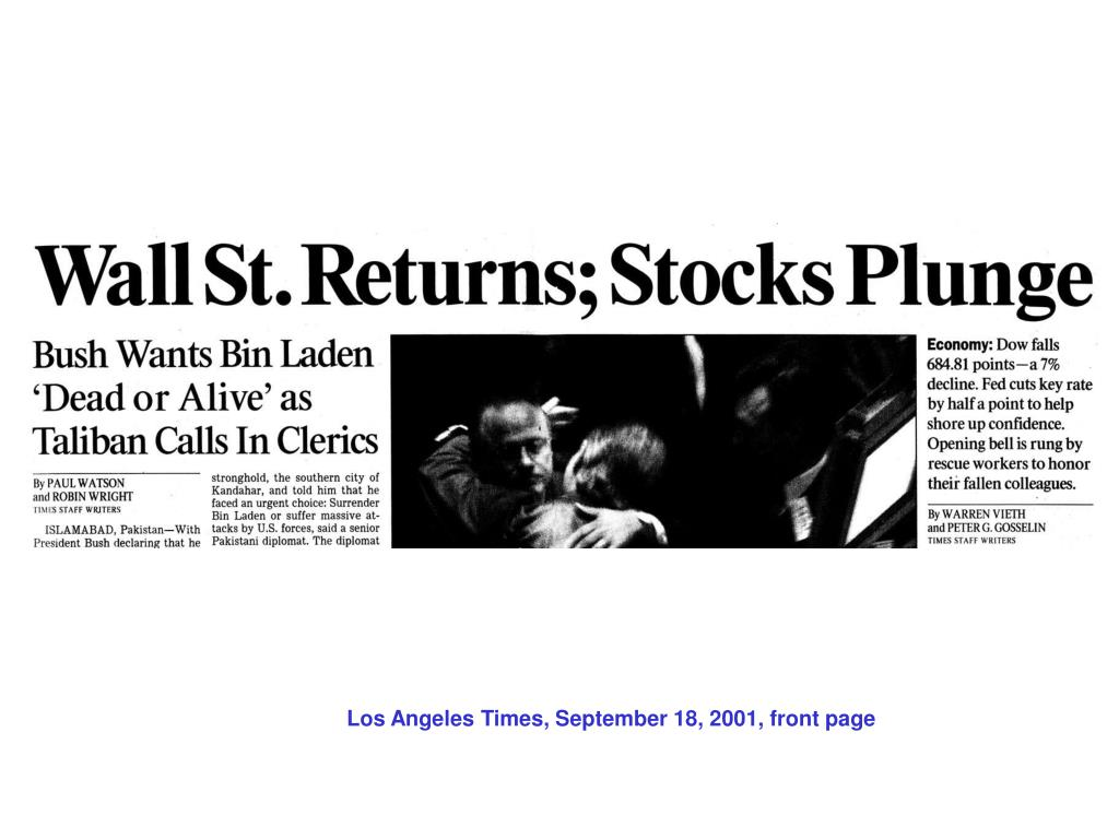 Los Angeles Times, September 18, 2001, front page