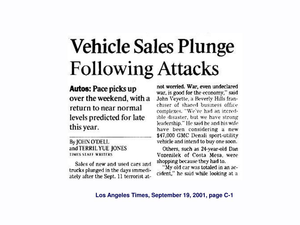 Los Angeles Times, September 19, 2001, page C-1