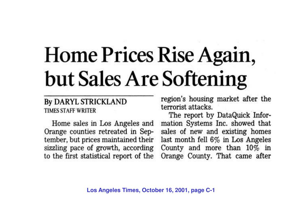 Los Angeles Times, October 16, 2001, page C-1