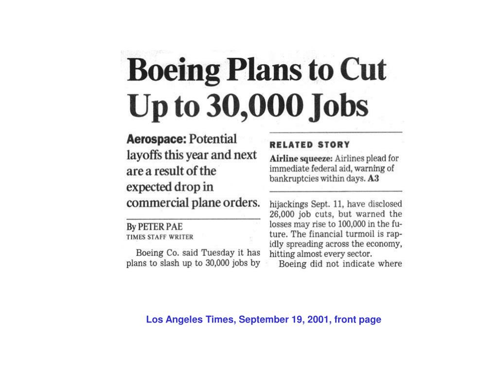 Los Angeles Times, September 19, 2001, front page