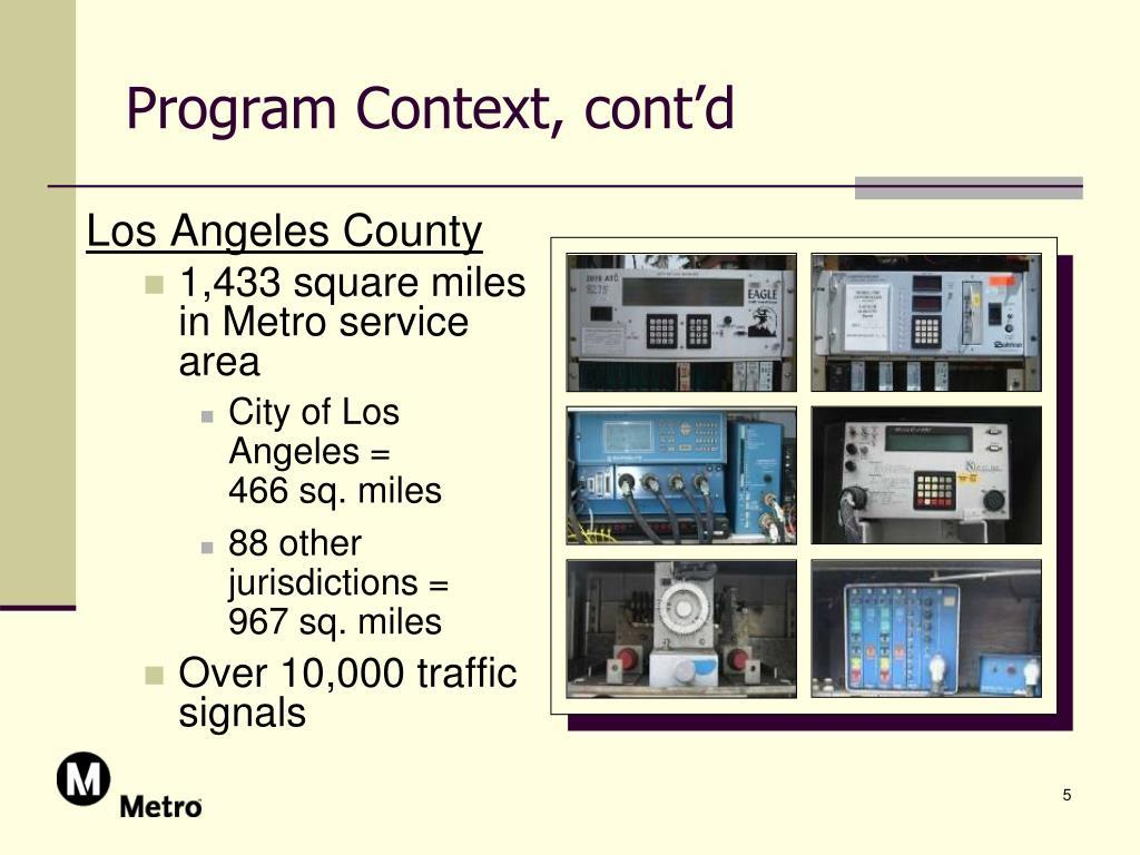 Program Context, cont'd
