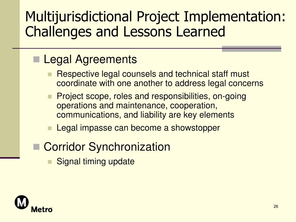 Multijurisdictional Project Implementation: Challenges and Lessons Learned