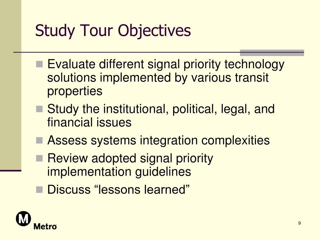 Study Tour Objectives