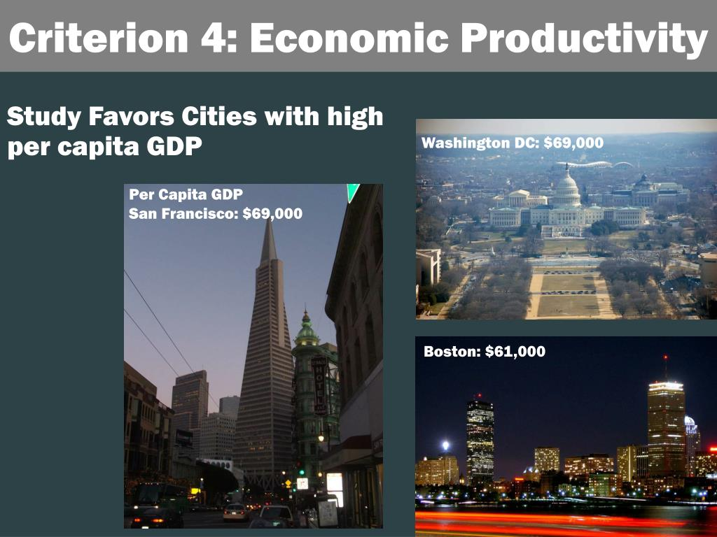 Study Favors Cities with high per capita GDP