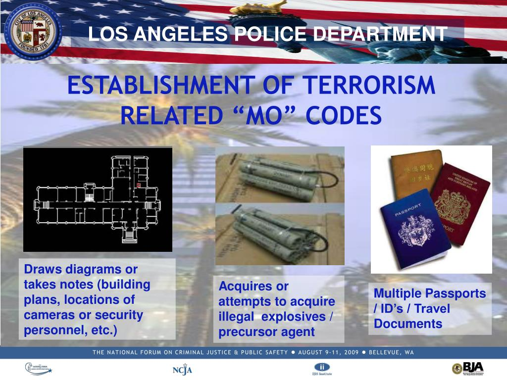 "ESTABLISHMENT OF TERRORISM RELATED ""MO"" CODES"
