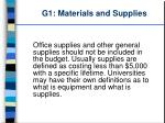 g1 materials and supplies