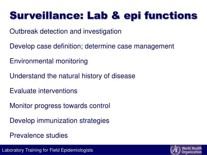 Surveillance: Lab & epi functions