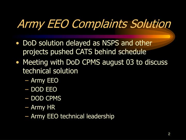 Army eeo complaints solution l.jpg