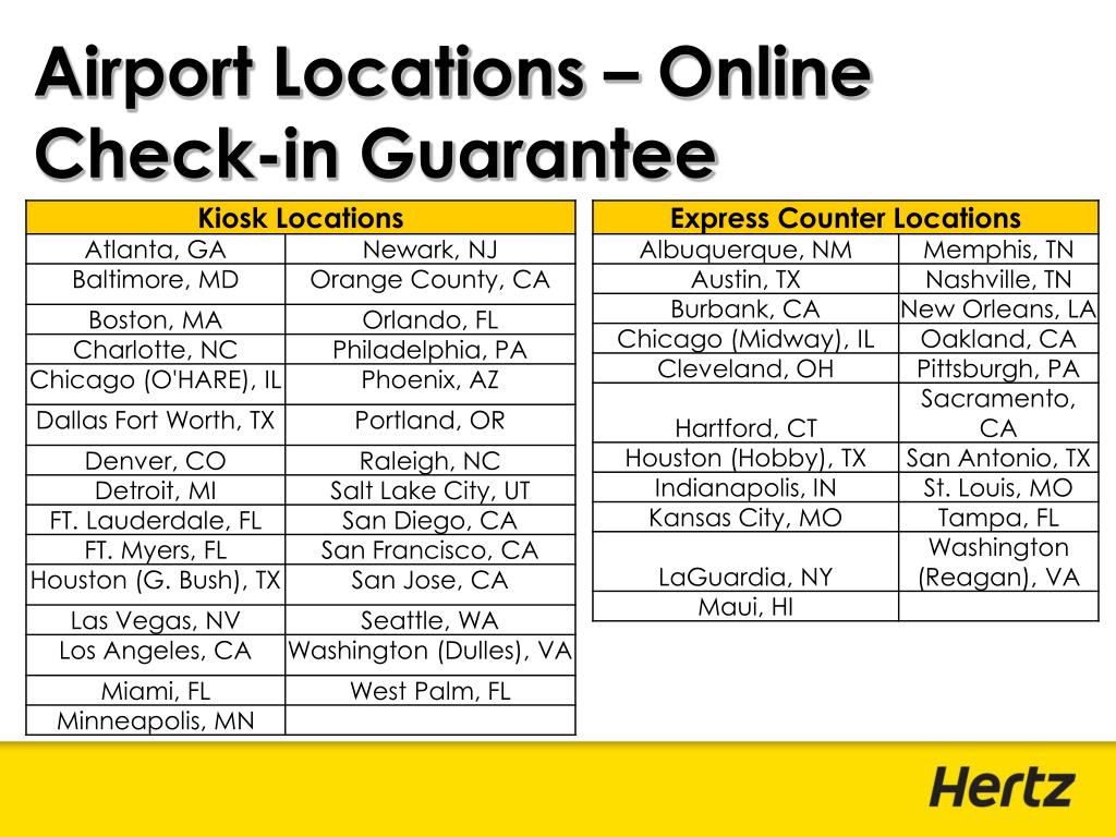 Airport Locations – Online Check-in Guarantee