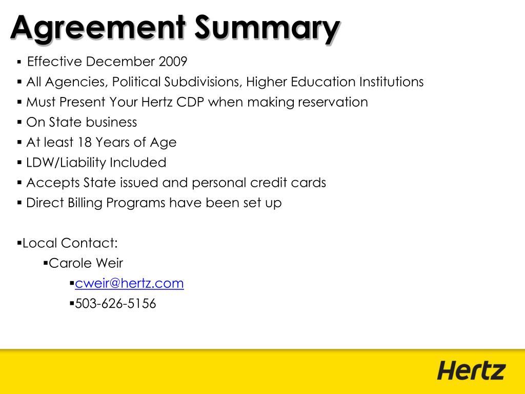 Agreement Summary